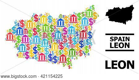 Bright Colored Banking And Dollar Mosaic And Solid Map Of Leon Province. Map Of Leon Province Vector