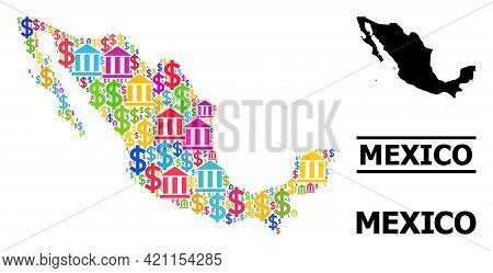 Vibrant Bank And Money Mosaic And Solid Map Of Mexico. Map Of Mexico Vector Mosaic For Geographic Ca
