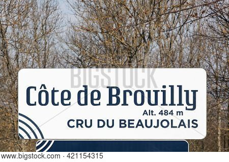 Road Sign With Cote De Brouilly, Altitude 484 Meters, Cru Du Beaujolais, France