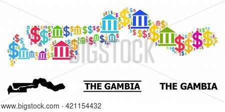 Colored Bank And Commercial Mosaic And Solid Map Of The Gambia. Map Of The Gambia Vector Mosaic For