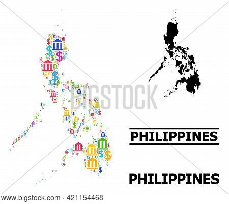 Multicolored Finance And Business Mosaic And Solid Map Of Philippines. Map Of Philippines Vector Mos