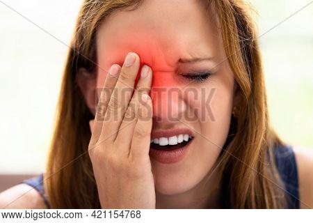 Glaucoma Eye Pain. Tired Young Woman Eyesight