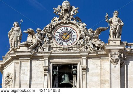 Vatican, Rome, Italy - October 9, 2020: Facade Of  Saint Peter's Basilica With Bell Gate On A Backgr