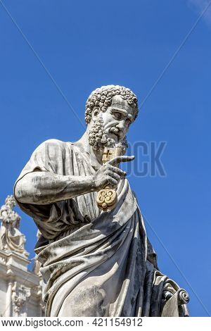 Vatican, Rome, Italy - October 9, 2020: Statue Of Saint Peter In Front Of Saint Peter's Basilica At