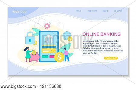 Male And Female Characters Are Using Online Bank Application Together. Concept Of Convenient Mobile