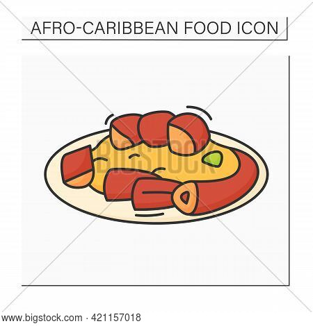 Afro-caribbean Food Color Icon. Jollof Oxtail. Aromatic, Slow-cooked Dish. Local Food Concept. Isola