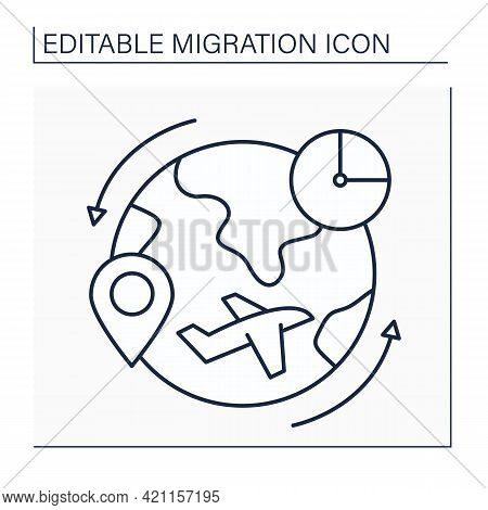 Return Migration Line Icon. Coming Home From Non-native Country. Restoring To Homeland. Migration Co