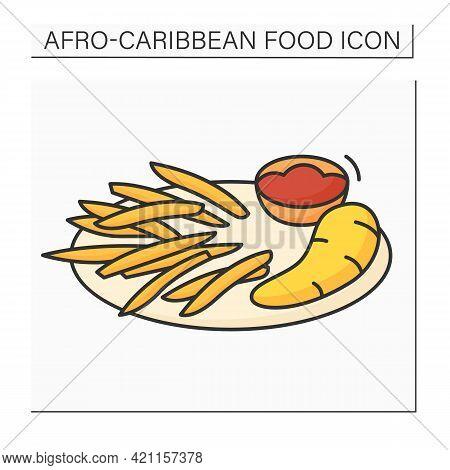 Afro-caribbean Food Color Icon.boiled Ghanaian Yarn. Sliced Potatoes, Yams. Sauce Containing Tomatoe