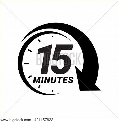 Minute Timer Icons. Sign For Fifteen Minutes.