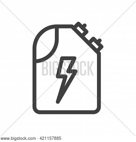 Electric Car Charging Canister Icon. Simple Linear Canister With Two Sensors For Positive And Negati