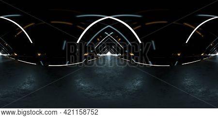 Full 360 Panorama View Of Dark Futuristic Abstract Tunnel Building Interior Studio 3d Render Illustr