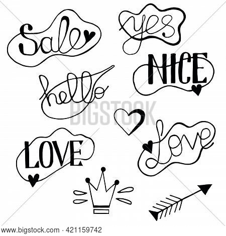 Vector Set Of Speech Bubbles With The Words Hello, Sale, Yes, Love, Nice.  Illustration Of A Vector