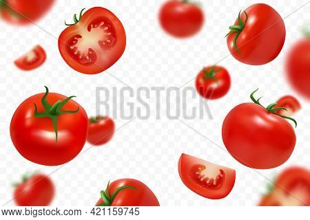 Falling Fresh Ripe Tomatoes Isolated On Transparent Background. Flying Defocusing Red Tomato. Close-