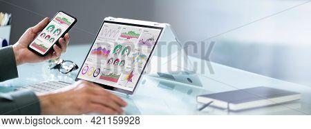 Kpi Dashboard Graph Technology On Laptop Screen