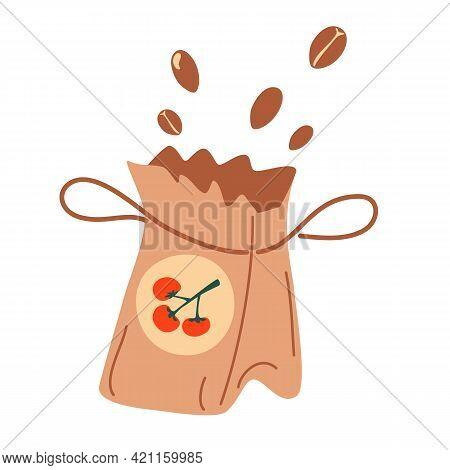 Paper Bag Of Seeds. Fertilizer Organic Bag Icon. Packs Of Tomato Seeds. Cartoon Vector Illustration.
