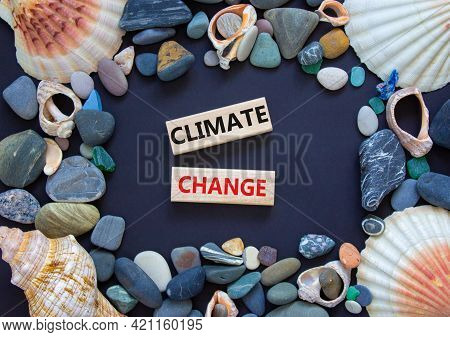Climate Change Symbol. Wooden Blocks With Words 'climate Change' On Beautiful Yellow Background. Sea