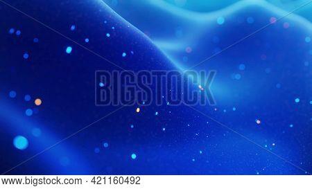 Fantastical Festive Blue Bg. Stylish Abstract Background, Waves On Matt Surface Like Landscape Made