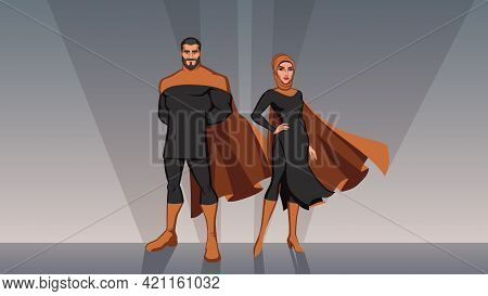 Male And Female Superheroes From The Middle East, Posing In Front Of Light.