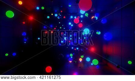 3d Render. 3d Abstract Creative Background With Neon Glow Multi-colored Spheres Inside Camera, Refle