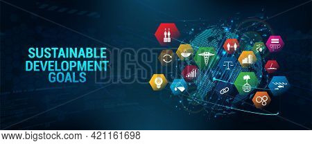 Web Banner Sdg - Sustainable Development Goals. Futuristic Banner Long-term Project The United Natio