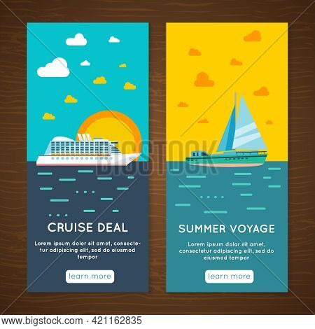 Summer Vacation Travel Agency Exclusive Sea Voyage Offer 2 Vertical Interactive Banners Set Abstract