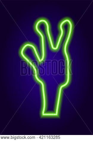 Green Neon Green Alien In Fantasy Style On Light Background.neon Green Alien Hand Sign In Fantasy St