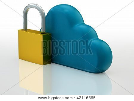 Cloud Technology Safety Concept With Cloud Sign And Padlock