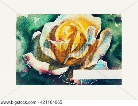 Yellow Rose On A Green Background. Watercolor Drawing On Grain Paper