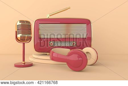 Vintage Style Headphones, Radio Receiver And Microphone. Pastel Colors And Golden Details. Retro Ear