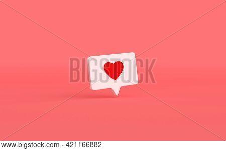 Like Heart Icon On A White Pin 3d Rendering. Social Media Notification. Social Network Symbol Backgr
