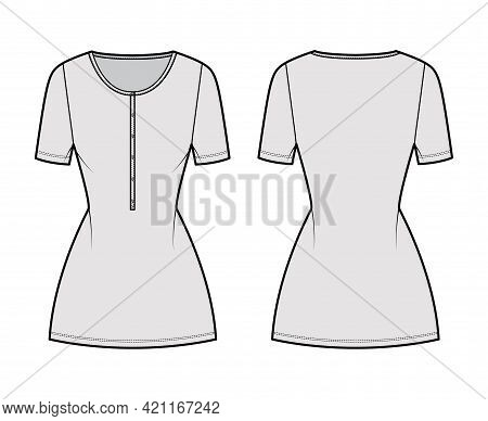 Dress Henley Collar Technical Fashion Illustration With Short Sleeves, Fitted Body, Mini Length Penc