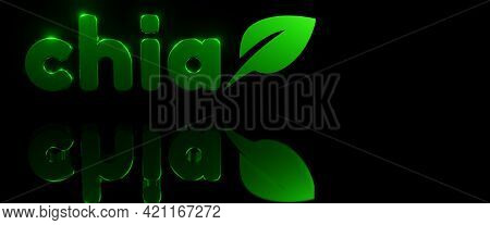 Green Chia Coin Logo With Reflection On Black Background. Chia Eco Crypto Currency, 3d Rendering. Ba