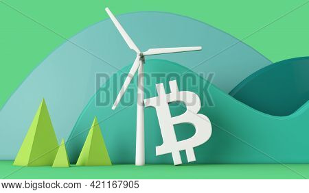 Bitcoin With A Wind Turbine In A Green Eco Landscape. 3d Rendering