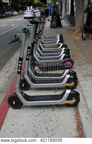 May 14, 2021 Santa Monica California, USA: Bird Electric Scooters Lined Up on a sidewalk waiting to be rented and ridden around by various people. Rental Scooter Business. Editorial Use.