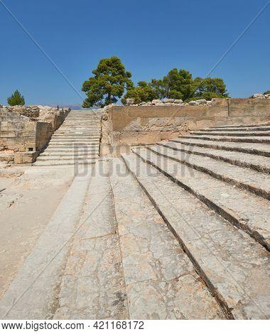 Temple Phaistos Archeological Site, Crete Island In Greece.