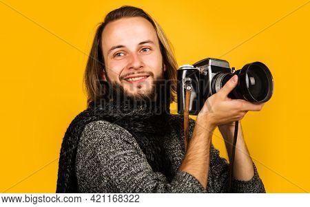 Photojournalist. Bearded Man With Photo Camera. Stylish Photographer With Retro Vintage Camera.