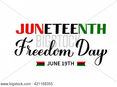 Juneteenth Typography Poster. African American Freedom Day On June 19. Vector Template For Banner, G