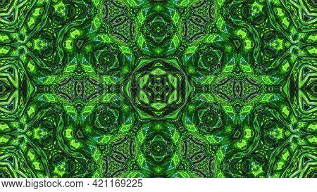 3d Render. 3d Stylish Abstract Bg. Liquid Green Symmetrical Pattern Like Kaleidoscope With Waves. Wa