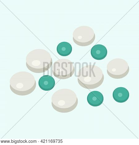Medical Tablets In White And Green Colors For Use In Web Design
