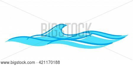 Water Waves Ocean Graphic Symbol, Light Blue Color, Water Ripples Light Blue And Copy Space, Ocean S
