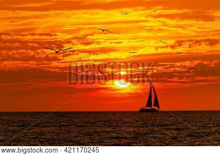 A Sailboat Is Sailing Along The Ocean As A Flock Of Birds Fly Into The Vivid Orange Sunset
