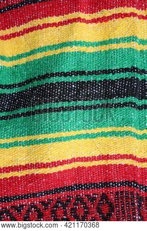 Red, Yellow, Green and Black hand woven blanket. Mexican Colors blanket.
