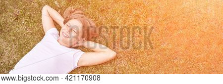 Little Girl Portrait. Outdoor Green Background. Closed Eyes. Teenager Schoolgirl At Park. Cute Face.