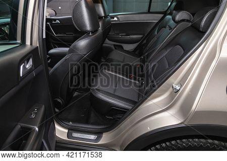 Novosibirsk, Russia - May 16, 2021: Kia Sportage, Comfort Car Inside. Clean Car Interior: Black Back