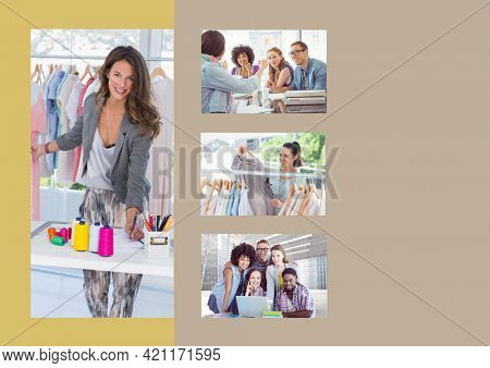 Composition of four photographs of fashion designers and copy space on beige background. creative professionals at work concept digitally generated image.