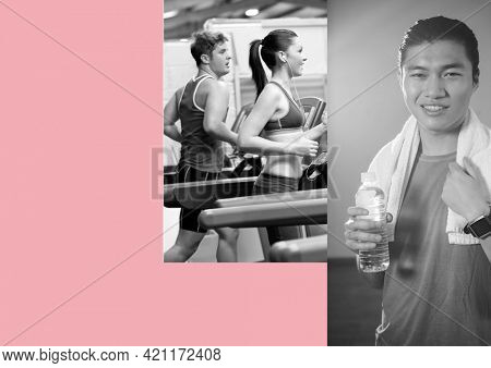 Composition of two photographs with people working out running and copy space on pink background. active lifestyle concept digitally generated image.