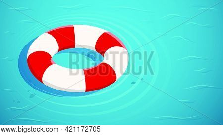 Red White Life Buoy Floats On Surface Of Water. Salvation In External Situations. Life Insurance. Is