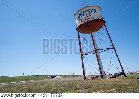 Groom, Texas - May 6, 2021: The Famous Britten Usa Water Tower, Also Known As The Leaning Tower Of T