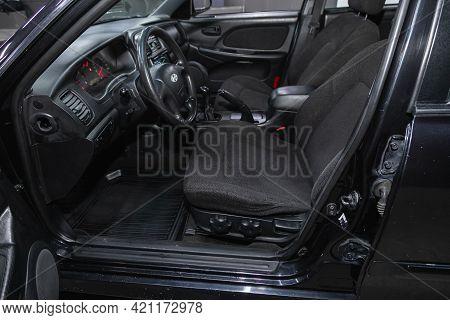Novosibirsk, Russia - May 16, 2021: Hyundai Sonata, Luxury Car Interior - Steering Wheel, Shift Leve