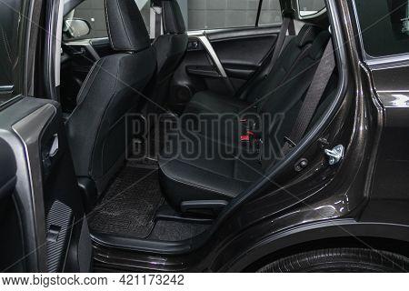 Novosibirsk, Russia - May 16, 2021: Toyota Rav-4, Comfort Car Inside. Clean Car Interior: Black Back